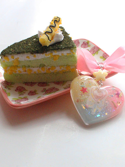 Kawaii Pastel Heart Squishy Green Cake Slice Key Charm - Feelin Peachy