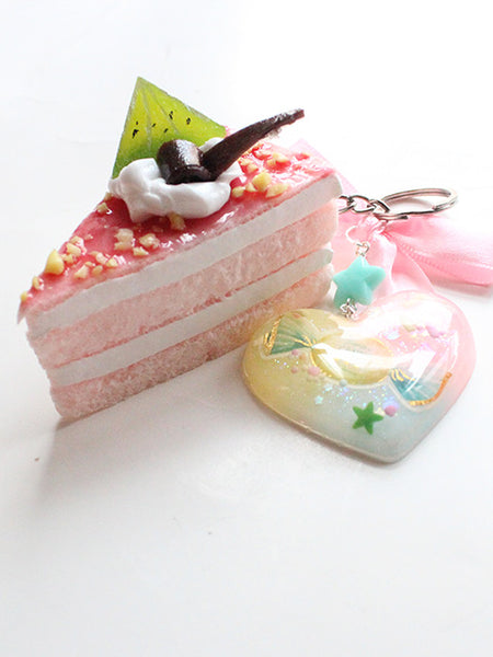 Kawaii Pastel Heart Squishy Pink Cake Slice Key Charm