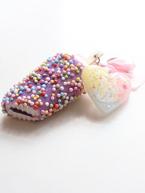 Kawaii Pastel Heart Squishy Purple Ice Cream Key Charm - Feelin Peachy