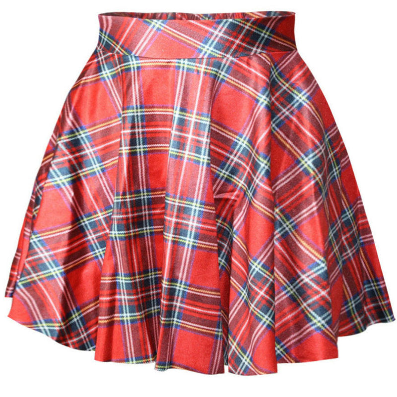 Red Tartan Plaid Circle Skirt