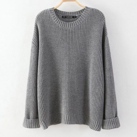 Mixi Gray Lace Up Back Knit Oversized Pullover Sweater