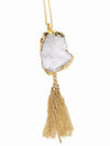 Long Druzy Chain Tassel Necklace - Feelin Peachy