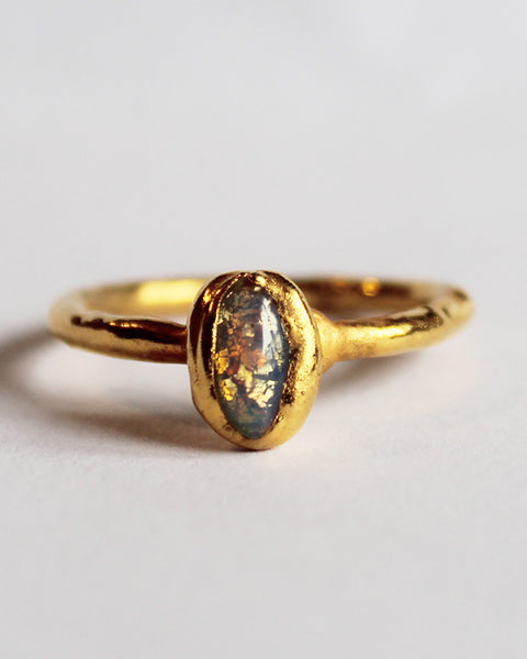 Opal Electroformed Copper Stacking Ring- 24k Gold Plated