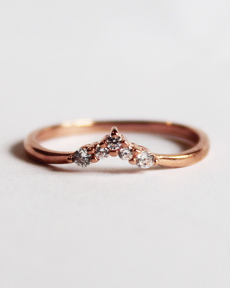 Sterling Silver Rose Gold Plated Cubic Zirconia Stacking Ring