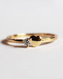 Dainty Heart Cubic Zirconia Band Ring- 18k Gold Plated - Feelin Peachy