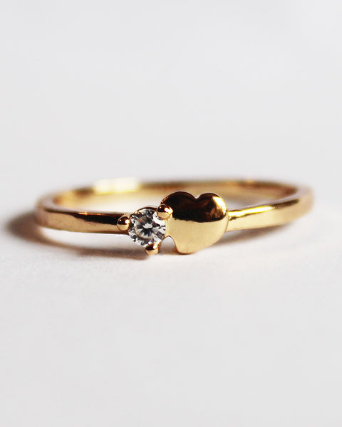 Dainty Heart Cubic Zirconia Band Ring- 18k Gold Plated