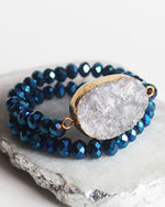 Crystal Double Stretch Beaded Druzy Set Bracelet - Feelin Peachy
