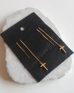 Cross Threader Earrings- 18k Gold Plated - Feelin Peachy