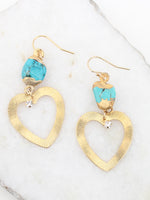 Turquoise Heart Drop Dangle 14K Gold Filled Earrings