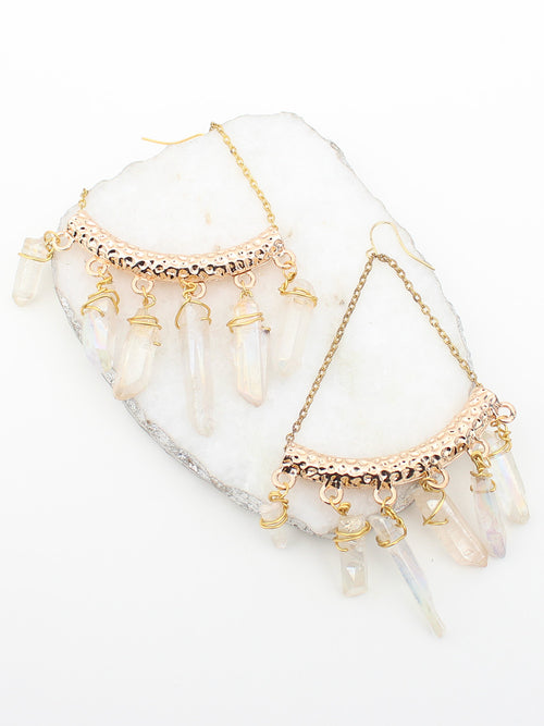 Bamboo Gold Crystal Chandelier Earrings - Feelin Peachy