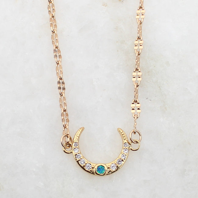 Opal Crescent Moon 18K Gold Plated Collar Necklace - Feelin Peachy