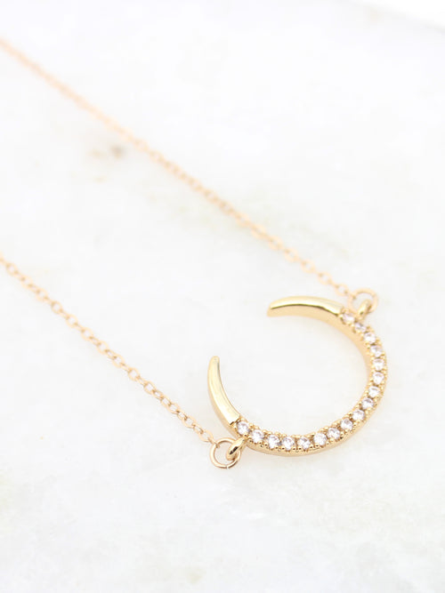 Cubic Zirconia Pave Crescent Moon 14K Gold Filled Collar Necklace - Feelin Peachy