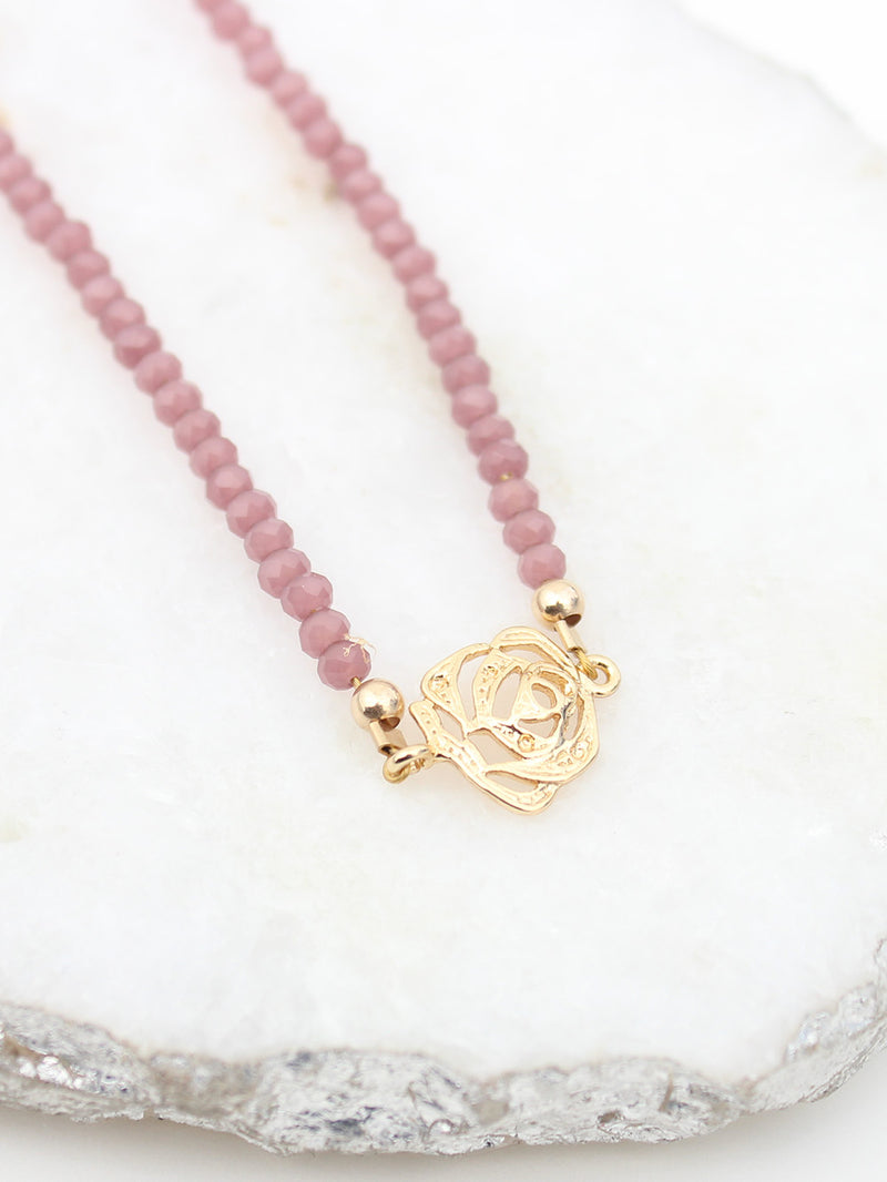 Rose Pendant 18k Gold Plated Beaded Pink Collar Necklace