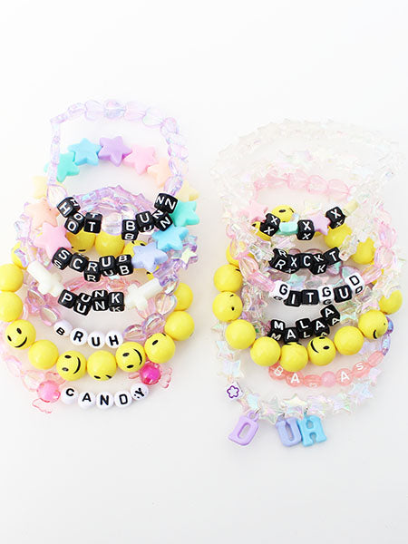 Cheeky Creepy Cute Rave Beaded Letter Charm Bracelet Stack(Set of 13) - Feelin Peachy