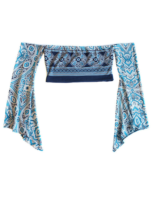Paisley Off Shoulder Tube Top- Blue - Feelin Peachy