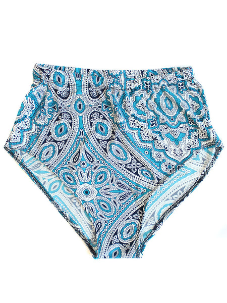 Paisley High Waist Shorts- Blue - Feelin Peachy