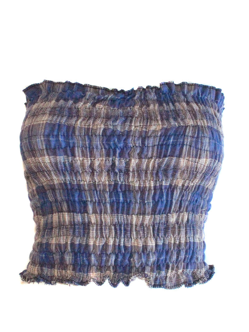 Washed Smocked Plaid Tube Top
