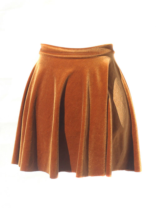 Velvet Honey Brown Circle Skirt