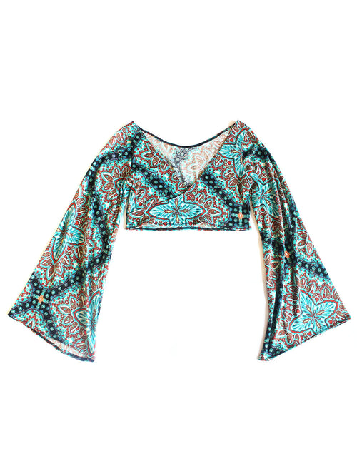 Paisley V-Neck Bell Sleeve Top- Green
