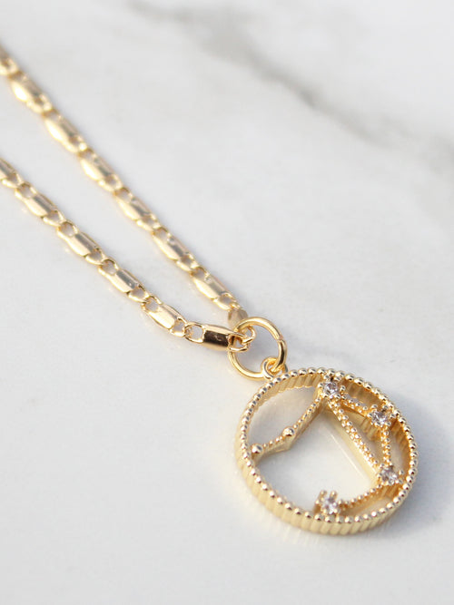 Gold Chain Zodiac Star Sign Pendant- 18K Gold Plated