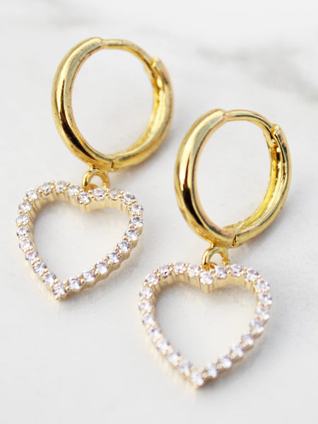 For The Saints Mini Hoop Drop Earrings-18K Gold Plated