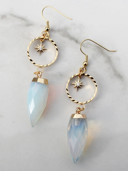 Moonstone Gold Drop Earrings-18K Gold Plated