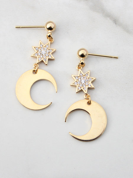 Falling Stars Gold Drop Earrings-18K Gold Plated