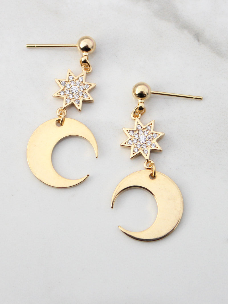 Crescent Moon & Star Dangle Earrings-18K Gold Plated - Feelin Peachy