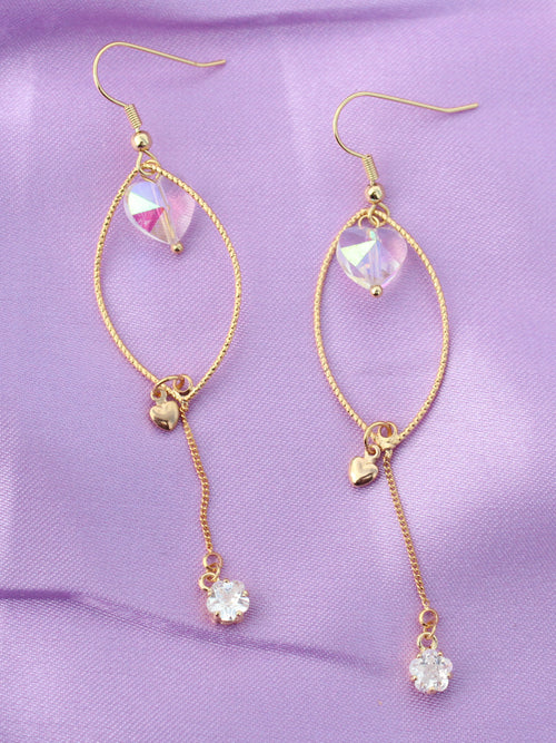 I Do It for Love Crystal Gold Drop Earrings-18K Gold Plated - Feelin Peachy
