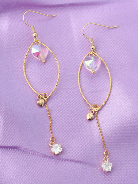 I Do It for Love Crystal Gold Drop Earrings-18K Gold Plated