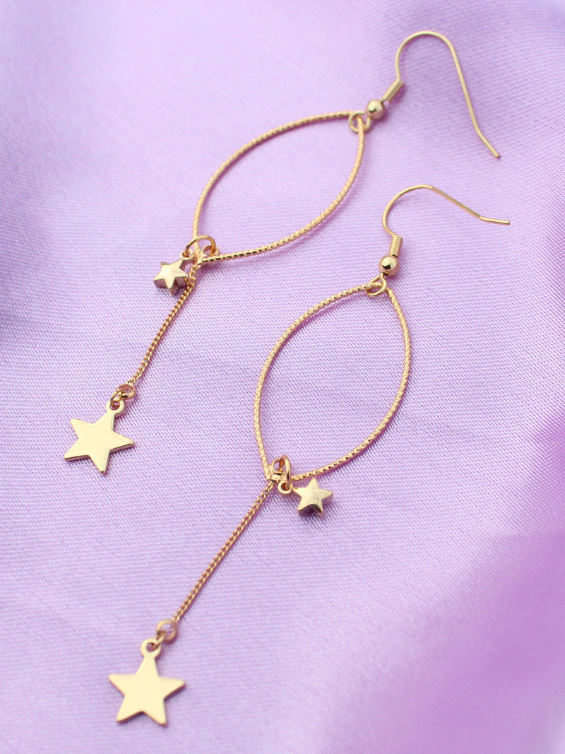 Falling Stars Gold Drop Earrings-18K Gold Plated - Feelin Peachy