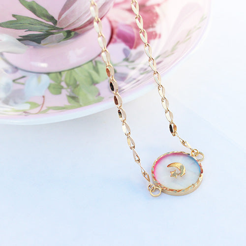 Kawaii Rainbow Bubble Moon Star 18k Gold Plated Chain Necklace - Feelin Peachy