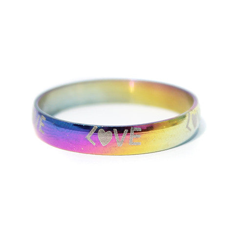 Love Struck Engraved Rainbow Titanium Band Rings