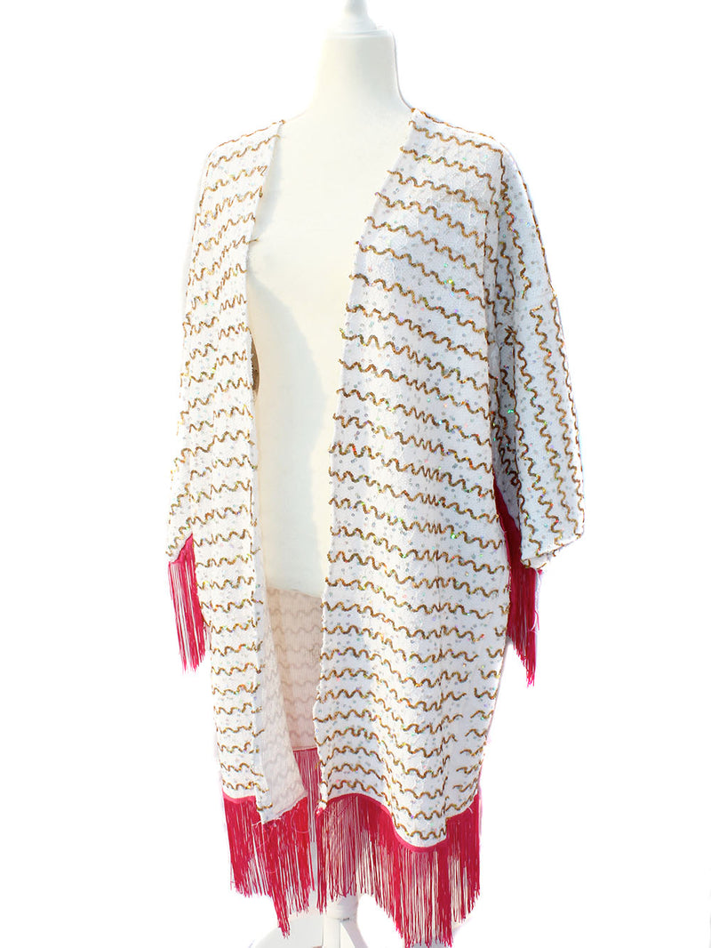 Disco Holographic Sequined Fringe Kimono - Feelin Peachy
