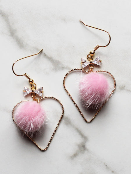 Heart Hoop Faux Fur Pink Pom Pom Dangle Earrings-18K Gold Plated - Feelin Peachy