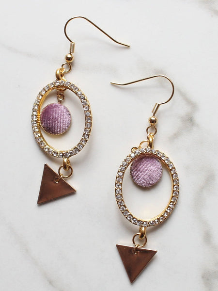Crystal Hoop Velvet Dangle Earrings-18K Gold Plated - Feelin Peachy