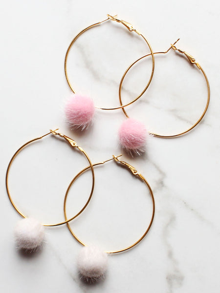 Heart Hoop Faux Fur Pink Pom Pom Dangle Earrings-18K Gold Plated