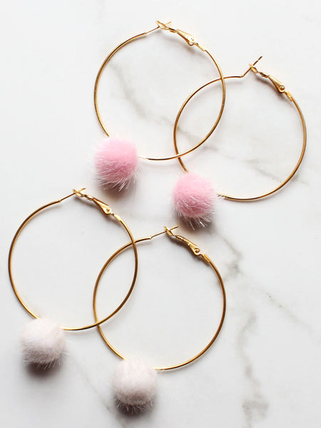 Gold Faux Fur Hoop Pom Pom Earrings - Feelin Peachy