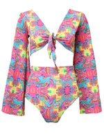 Trippy Hippy Tie Front Bell Sleeve Top