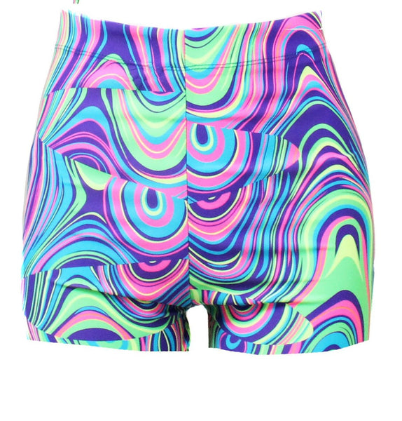 Lost In The wave High Waist Cycling Shorts - Feelin Peachy