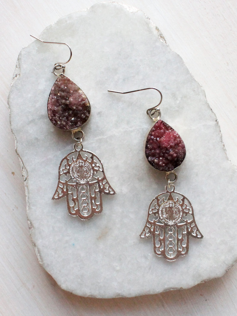 Hamsa Druzy Crystal Drop Earrings-Sterling Silver