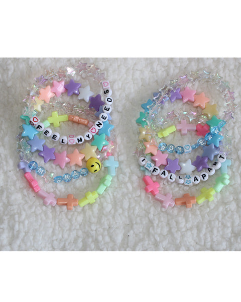 Kawaii Pastel Beaded Letter Text Bracelet Stack(Set of 9) /Cute jewelry/rave/festival - Feelin Peachy