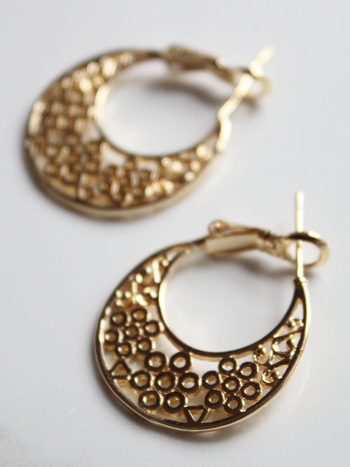Lace Hoop Earrings-18K Gold Plated
