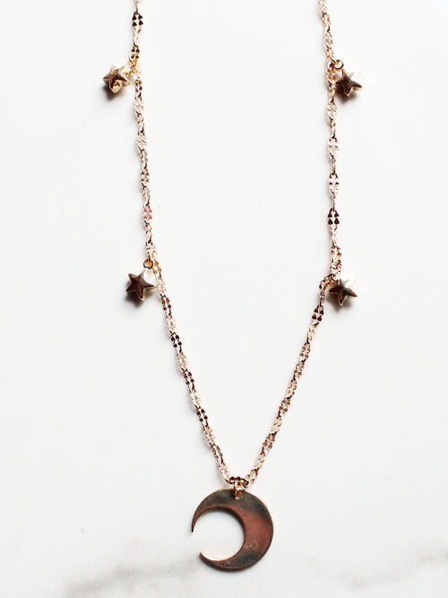 Moon & The Stars 18K Gold Plated Collar Necklace - Feelin Peachy