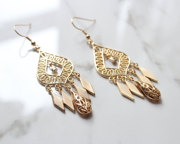 Bohemian Babe Chandelier  Earrings-18K Gold Plated - Feelin Peachy