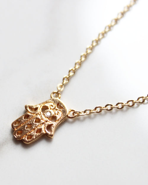Hamsa Dainty 18K Gold Plated Collar Necklace - Feelin Peachy