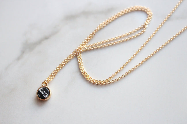 Marble Dainty 18K Gold Plated Collar Necklace - Feelin Peachy