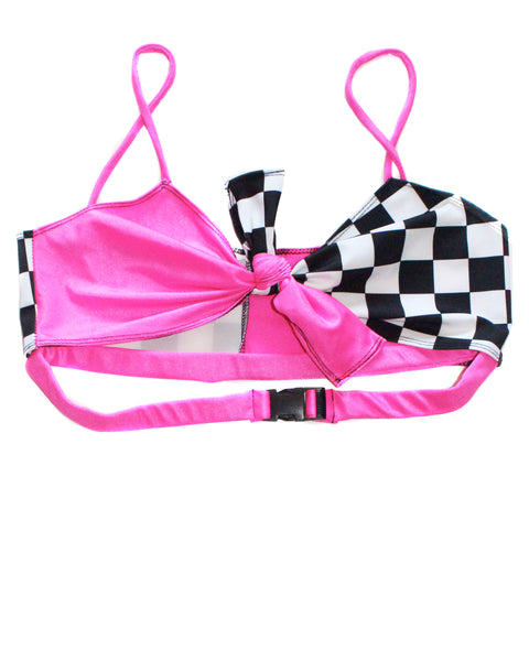 Neon Pink Checkered Tie Top - Feelin Peachy