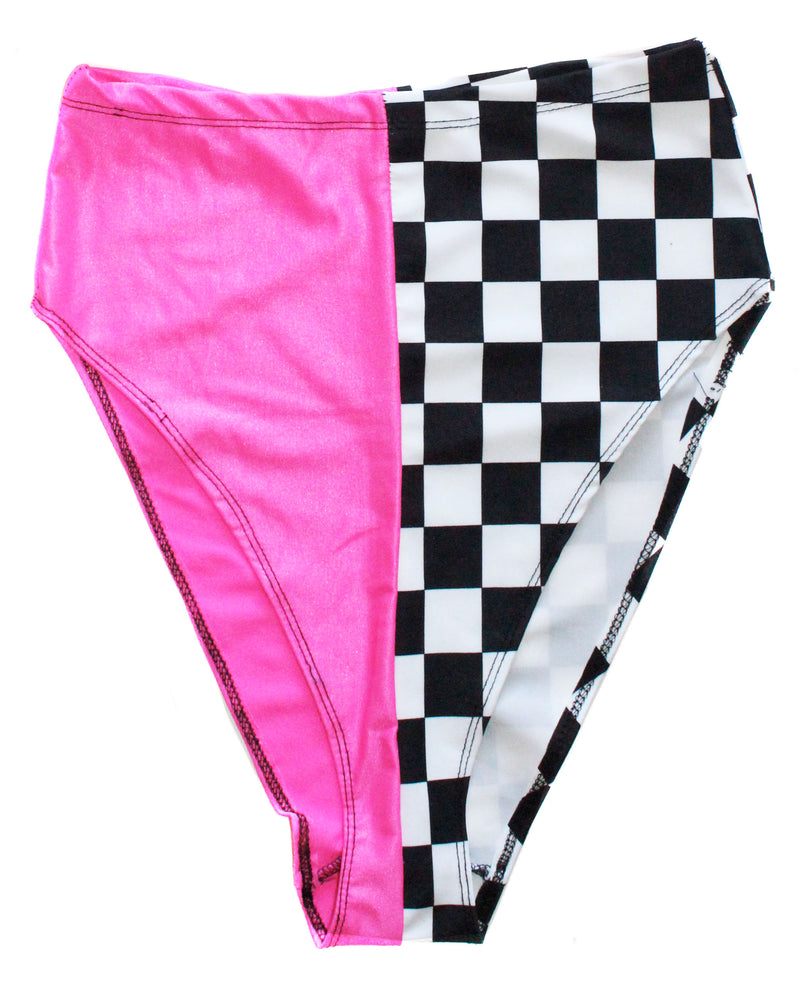 Neon Pink Checkered High Waist Shorts - Feelin Peachy