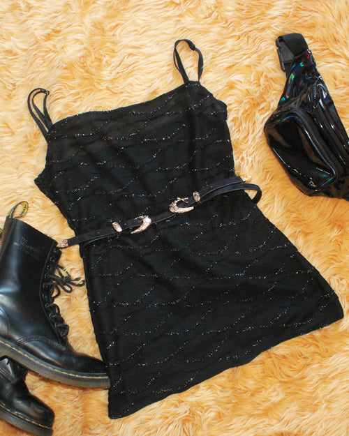 Metallic Black Knit Mini Dress - Feelin Peachy